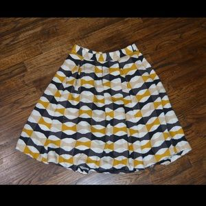 Yellow, Black, and Tan Pleated Skirt